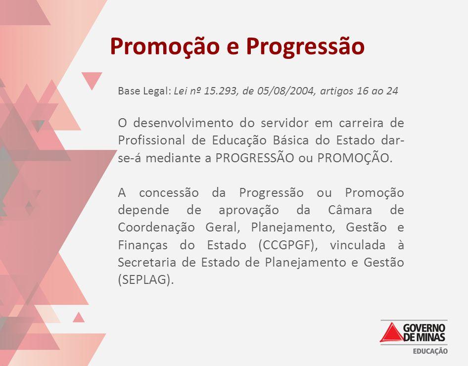 Promoção e Progressão Base Legal: Lei nº 15.293, de 05/08/2004, artigos 16 ao 24.