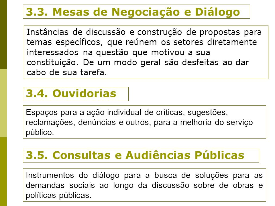 3.3. Mesas de Negociação e Diálogo