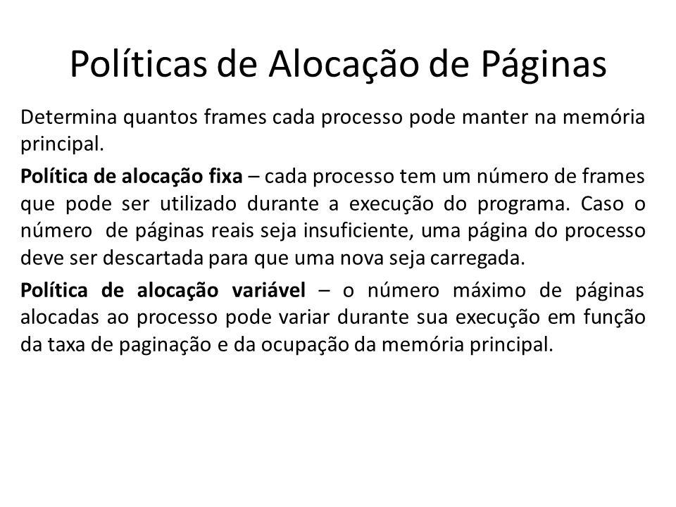 Políticas de Alocação de Páginas
