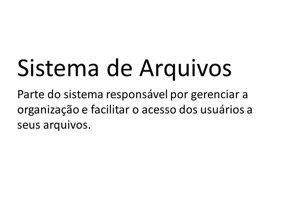 Sistema de Arquivos Parte do sistema responsável por gerenciar a organização e facilitar o acesso dos usuários a seus arquivos.