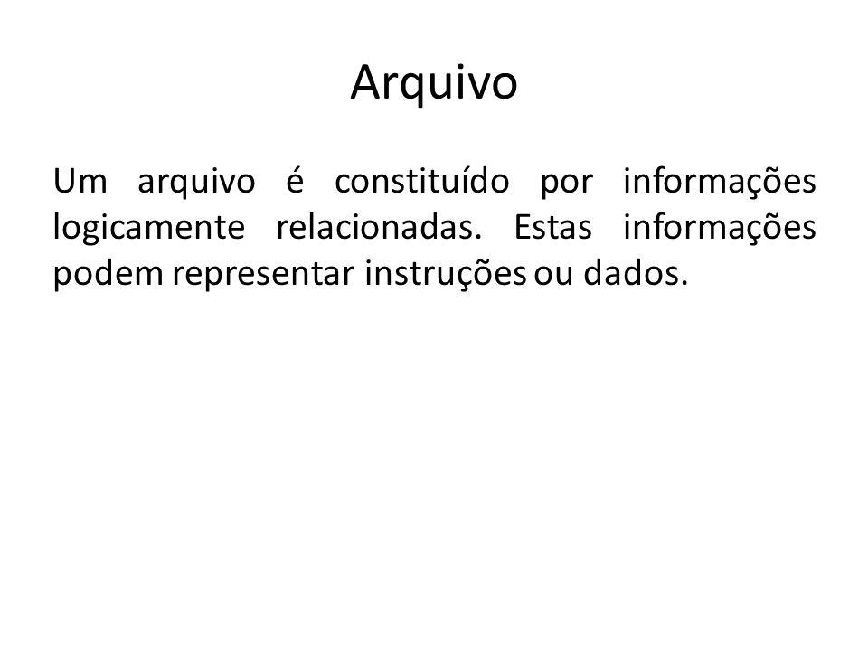 Arquivo Um arquivo é constituído por informações logicamente relacionadas.