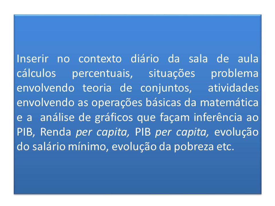 Inserir no contexto diário da sala de aula cálculos percentuais, situações problema envolvendo teoria de conjuntos, atividades envolvendo as operações básicas da matemática e a análise de gráficos que façam inferência ao PIB, Renda per capita, PIB per capita, evolução do salário mínimo, evolução da pobreza etc.