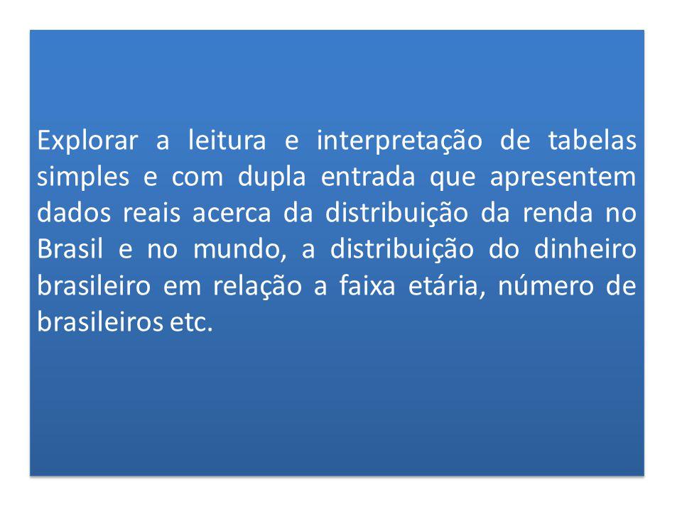 Explorar a leitura e interpretação de tabelas simples e com dupla entrada que apresentem dados reais acerca da distribuição da renda no Brasil e no mundo, a distribuição do dinheiro brasileiro em relação a faixa etária, número de brasileiros etc.