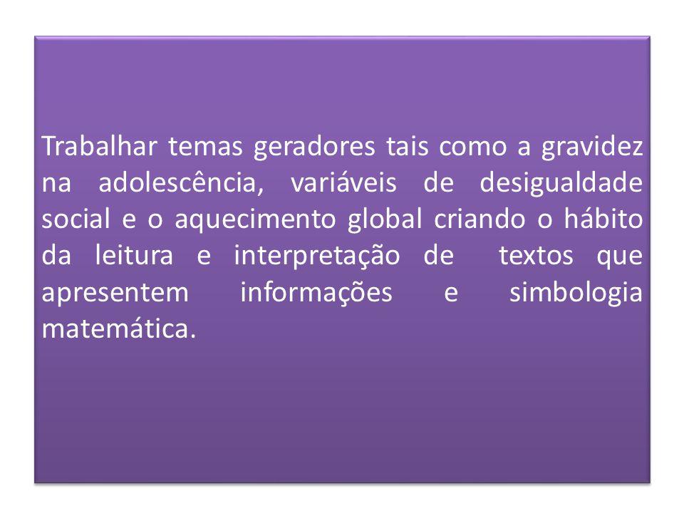 Trabalhar temas geradores tais como a gravidez na adolescência, variáveis de desigualdade social e o aquecimento global criando o hábito da leitura e interpretação de textos que apresentem informações e simbologia matemática.