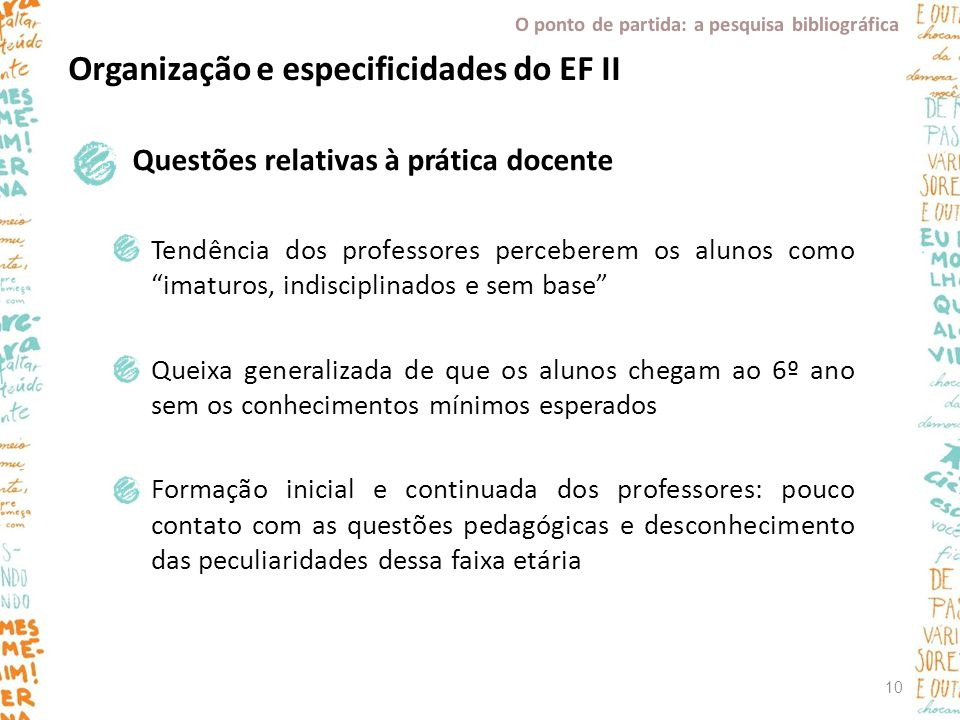 Organização e especificidades do EF II