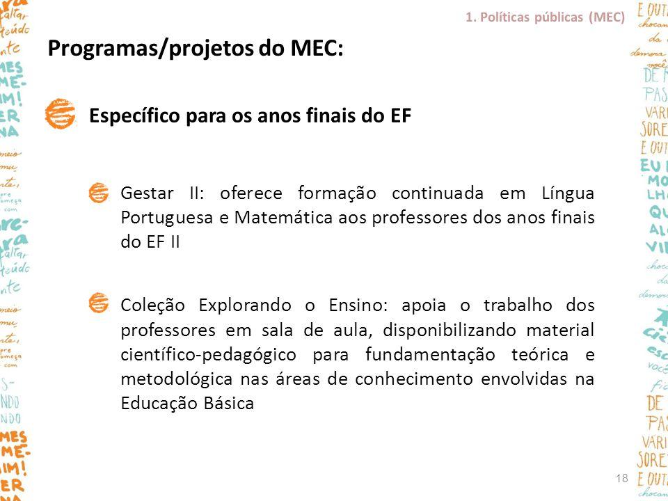 Programas/projetos do MEC: