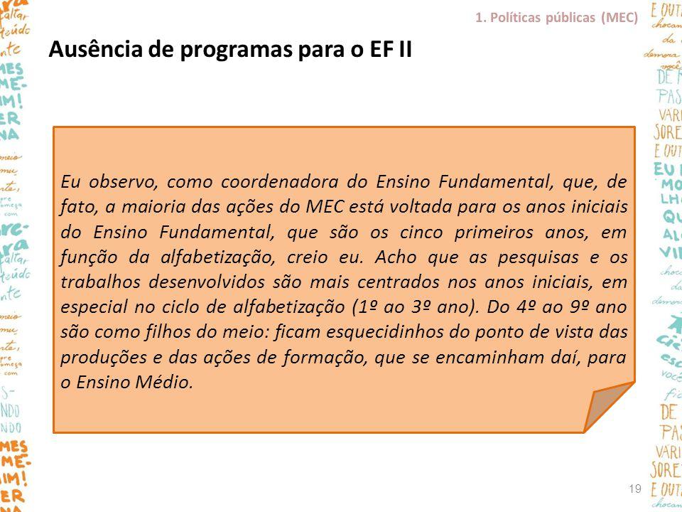 Ausência de programas para o EF II