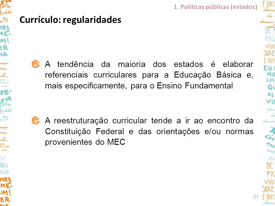 Currículo: regularidades