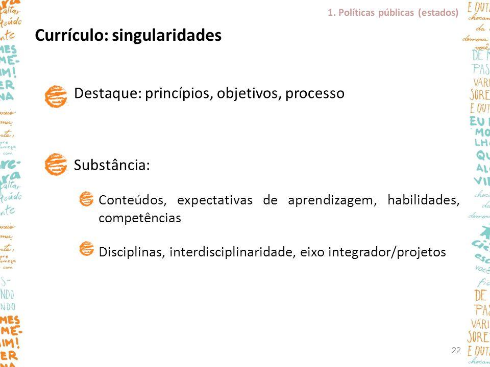 Currículo: singularidades
