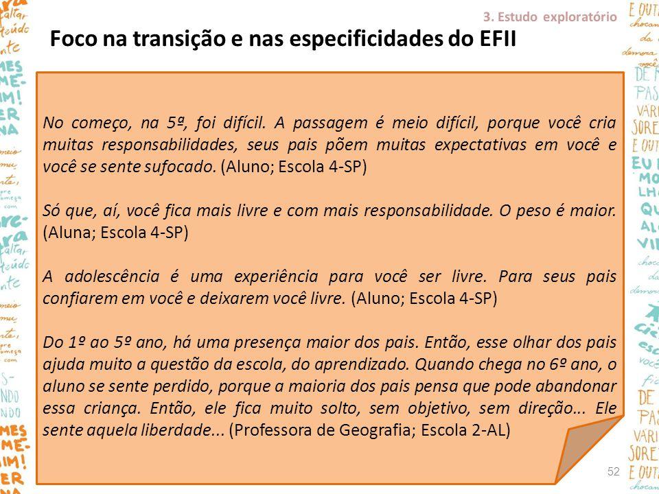 Foco na transição e nas especificidades do EFII