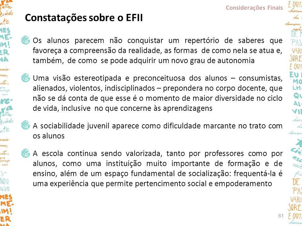 Constatações sobre o EFII