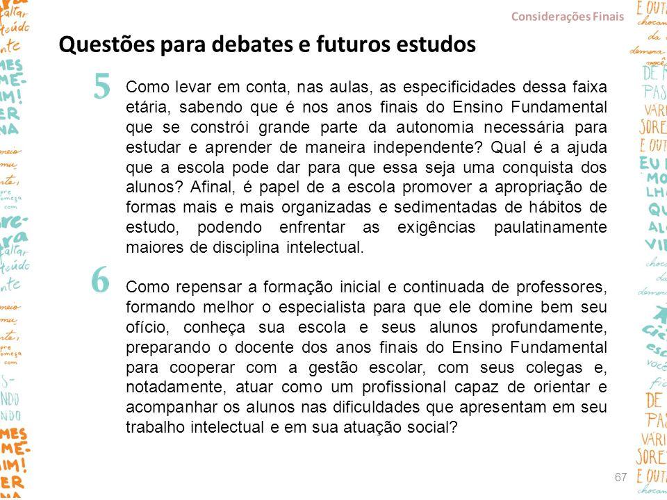 Questões para debates e futuros estudos