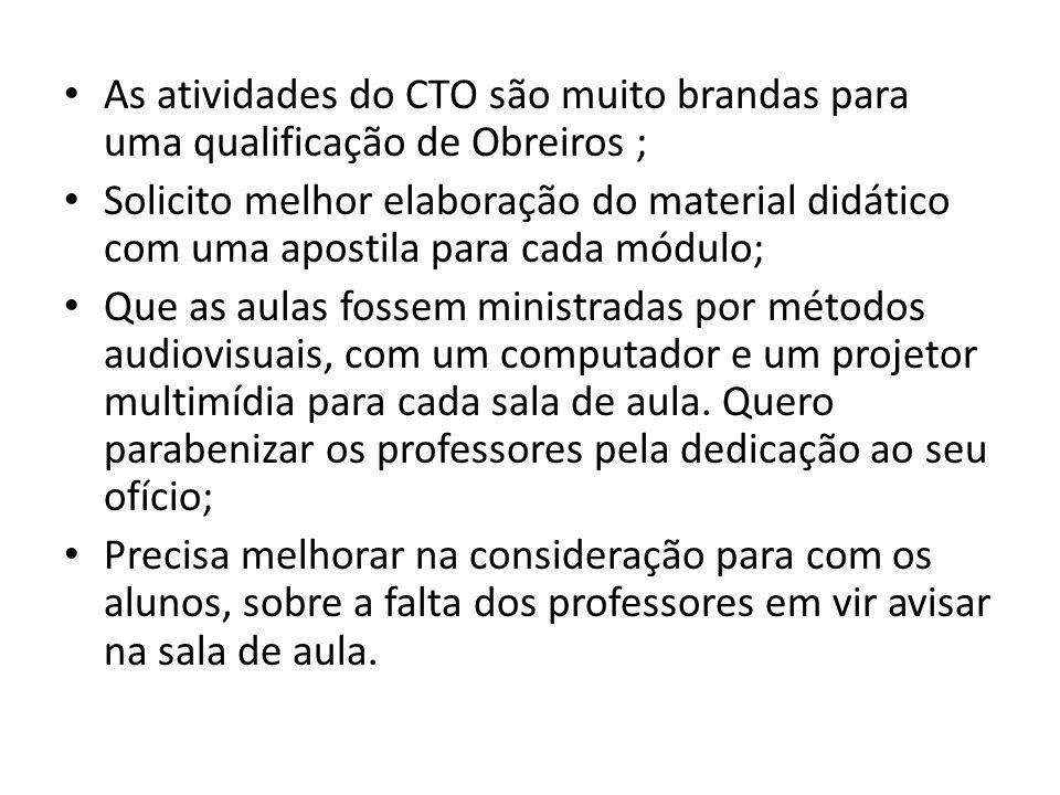 As atividades do CTO são muito brandas para uma qualificação de Obreiros ;