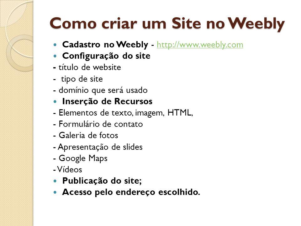 Como criar um Site no Weebly