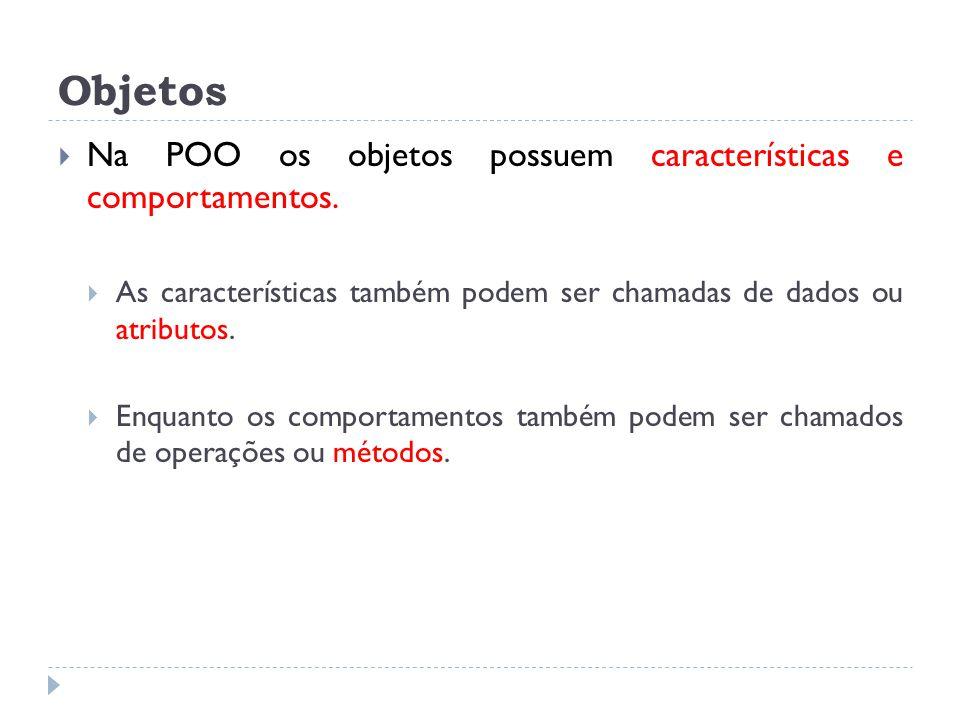 Objetos Na POO os objetos possuem características e comportamentos.