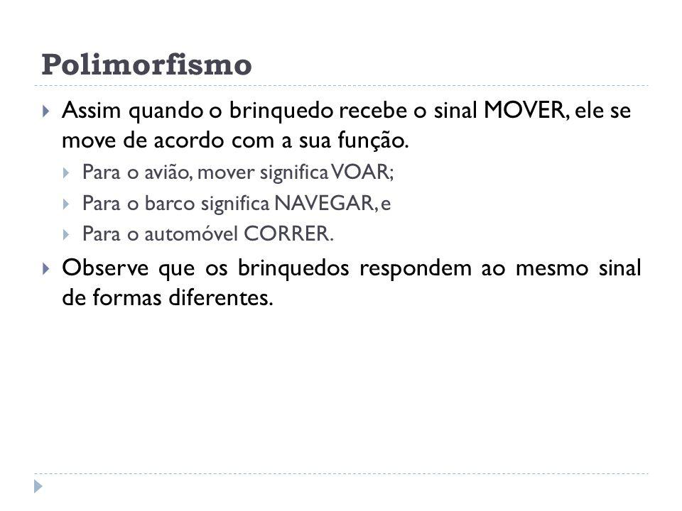 Polimorfismo Assim quando o brinquedo recebe o sinal MOVER, ele se move de acordo com a sua função.