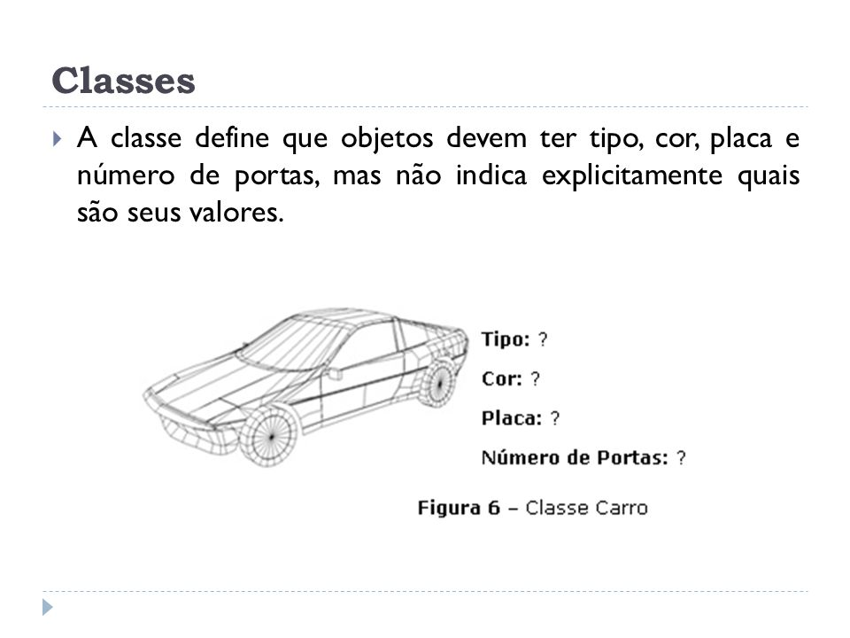 Classes A classe define que objetos devem ter tipo, cor, placa e número de portas, mas não indica explicitamente quais são seus valores.