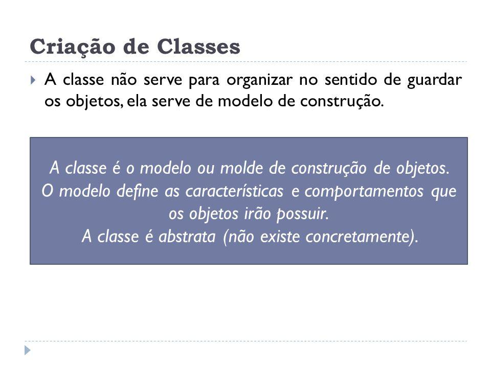 Criação de Classes A classe não serve para organizar no sentido de guardar os objetos, ela serve de modelo de construção.
