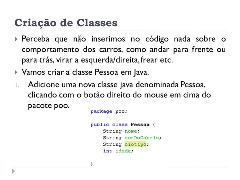 Criação de Classes
