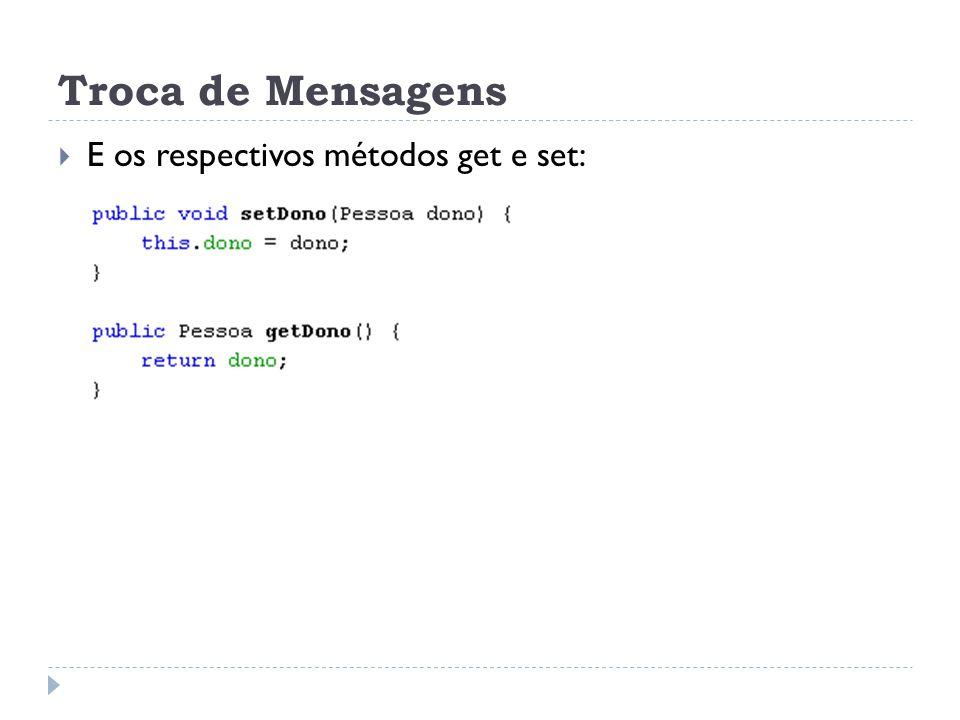 Troca de Mensagens E os respectivos métodos get e set: