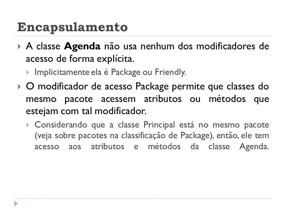 Encapsulamento A classe Agenda não usa nenhum dos modificadores de acesso de forma explícita. Implicitamente ela é Package ou Friendly.