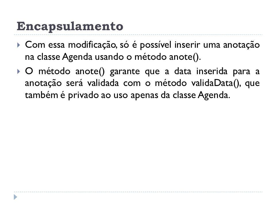 Encapsulamento Com essa modificação, só é possível inserir uma anotação na classe Agenda usando o método anote().