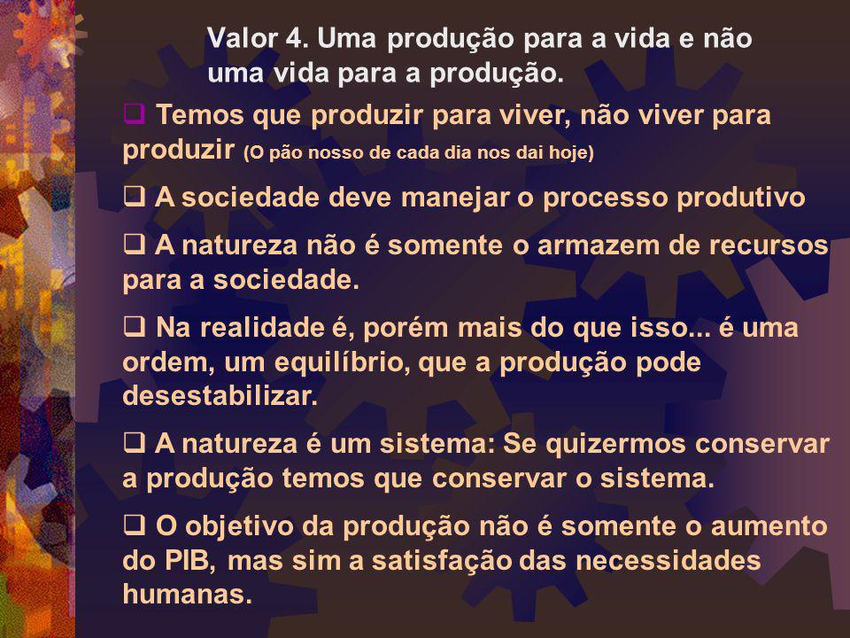 Valor 4. Uma produção para a vida e não uma vida para a produção.