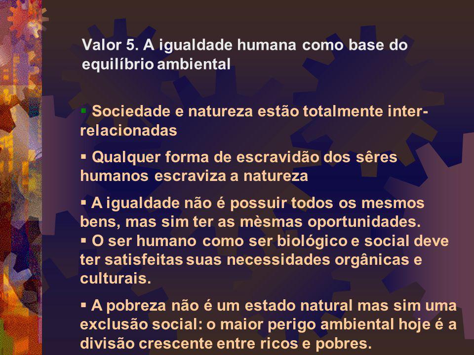 Valor 5. A igualdade humana como base do equilíbrio ambiental
