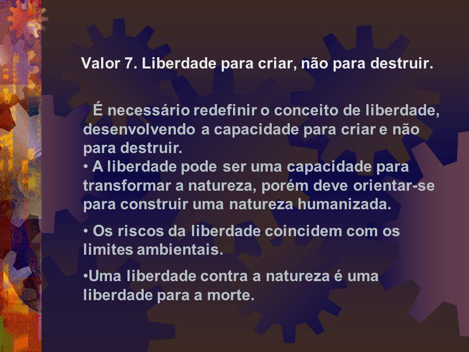 Valor 7. Liberdade para criar, não para destruir.