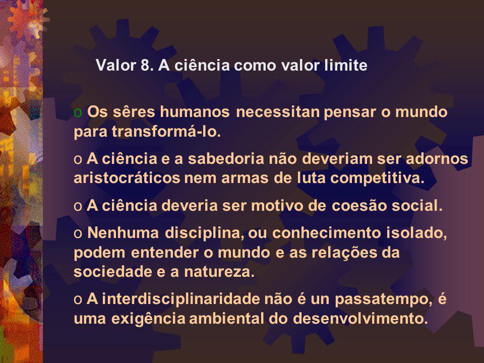 Valor 8. A ciência como valor limite