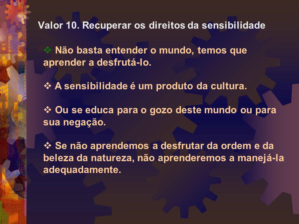 Valor 10. Recuperar os direitos da sensibilidade