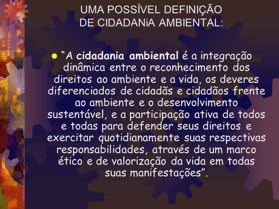 UMA POSSÍVEL DEFINIÇÃO DE CIDADANiA AMBIENTAL: