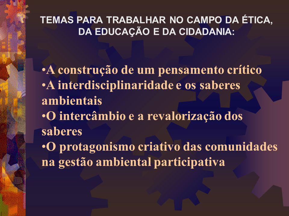 TEMAS PARA TRABALHAR NO CAMPO DA ÉTICA, DA EDUCAÇÃO E DA CIDADANIA: