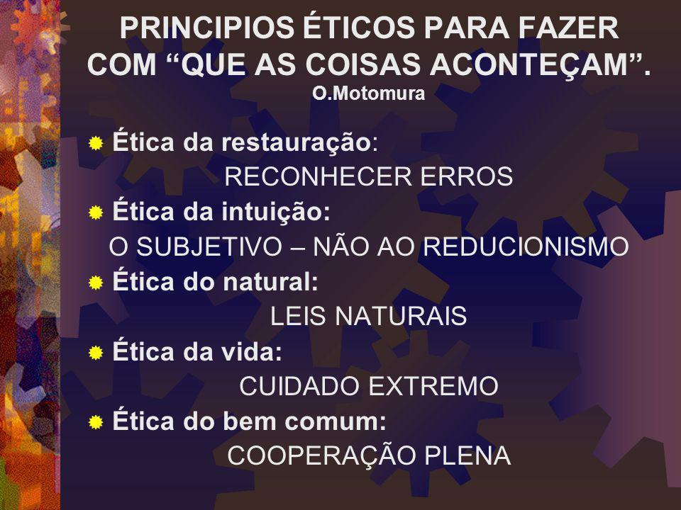 PRINCIPIOS ÉTICOS PARA FAZER COM QUE AS COISAS ACONTEÇAM . O.Motomura