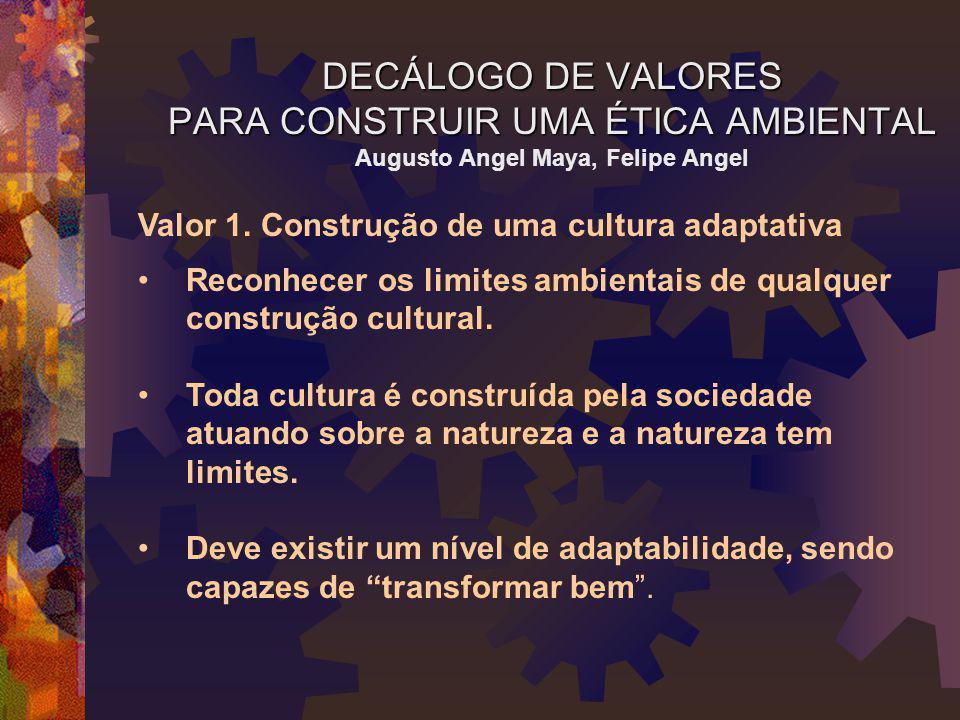 DECÁLOGO DE VALORES PARA CONSTRUIR UMA ÉTICA AMBIENTAL Augusto Angel Maya, Felipe Angel