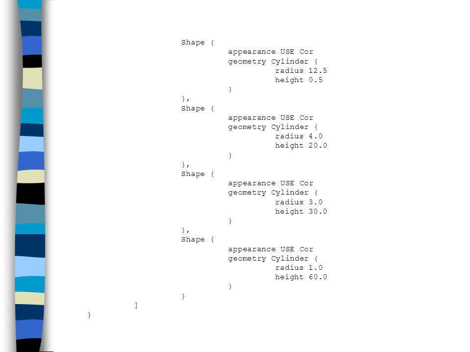 Shape { appearance USE Cor. geometry Cylinder { radius 12.5. height 0.5. } }, radius 4.0. height 20.0.