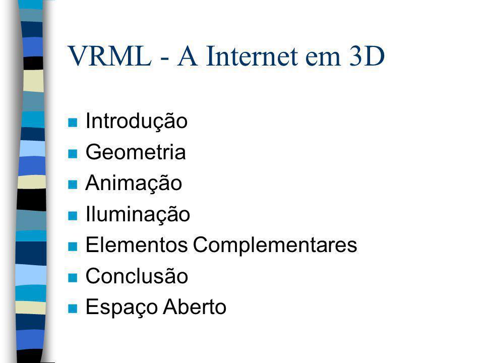 VRML - A Internet em 3D Introdução Geometria Animação Iluminação