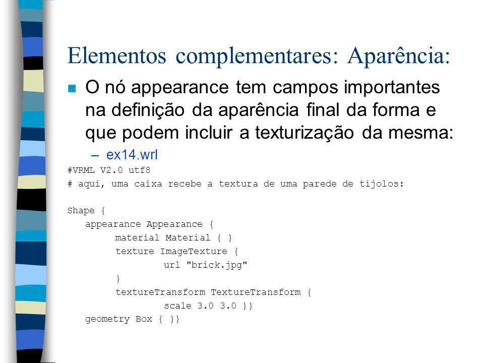 Elementos complementares: Aparência: