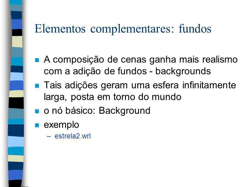 Elementos complementares: fundos