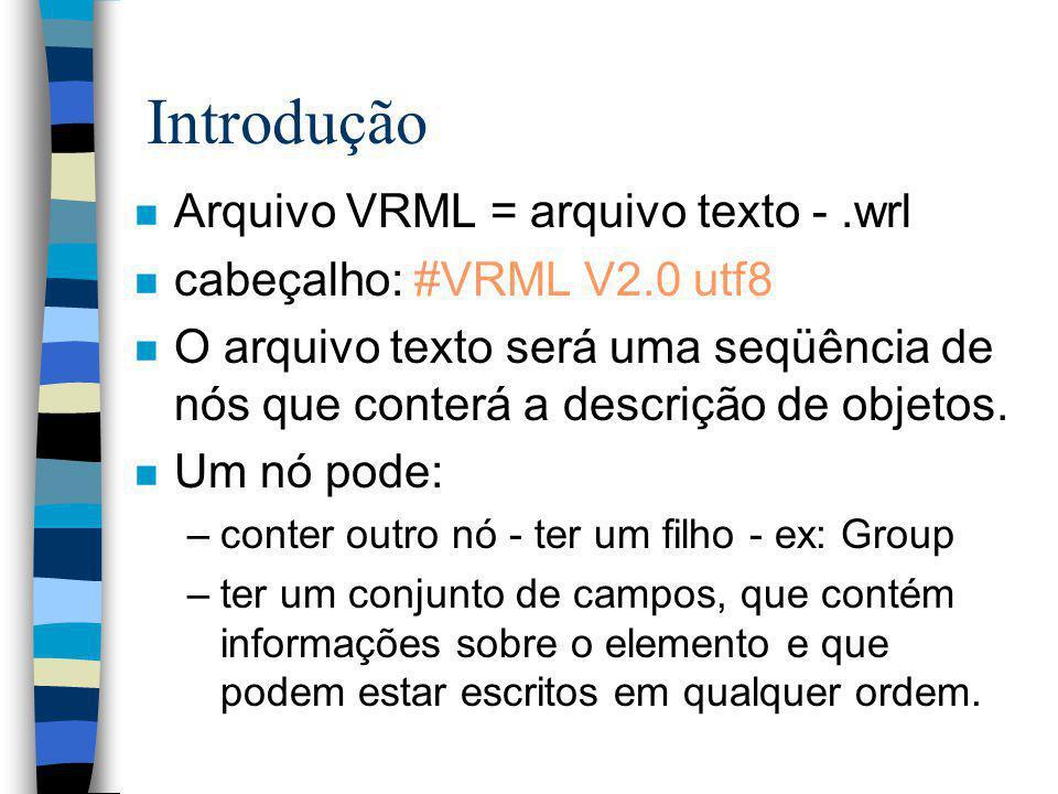 Introdução Arquivo VRML = arquivo texto - .wrl