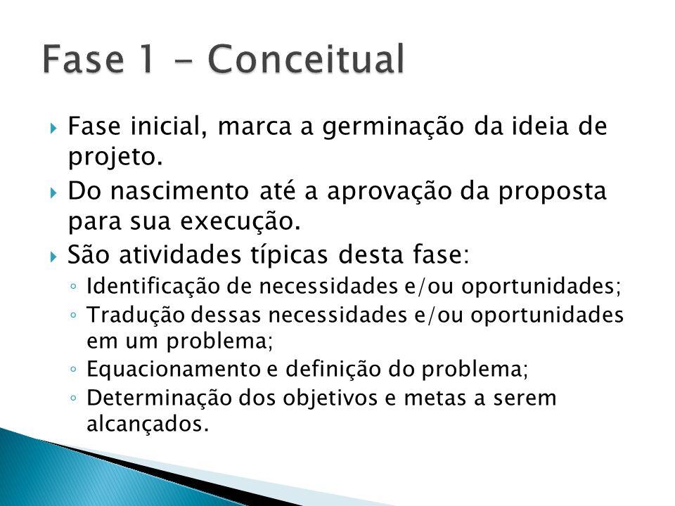 Fase 1 - Conceitual Fase inicial, marca a germinação da ideia de projeto. Do nascimento até a aprovação da proposta para sua execução.