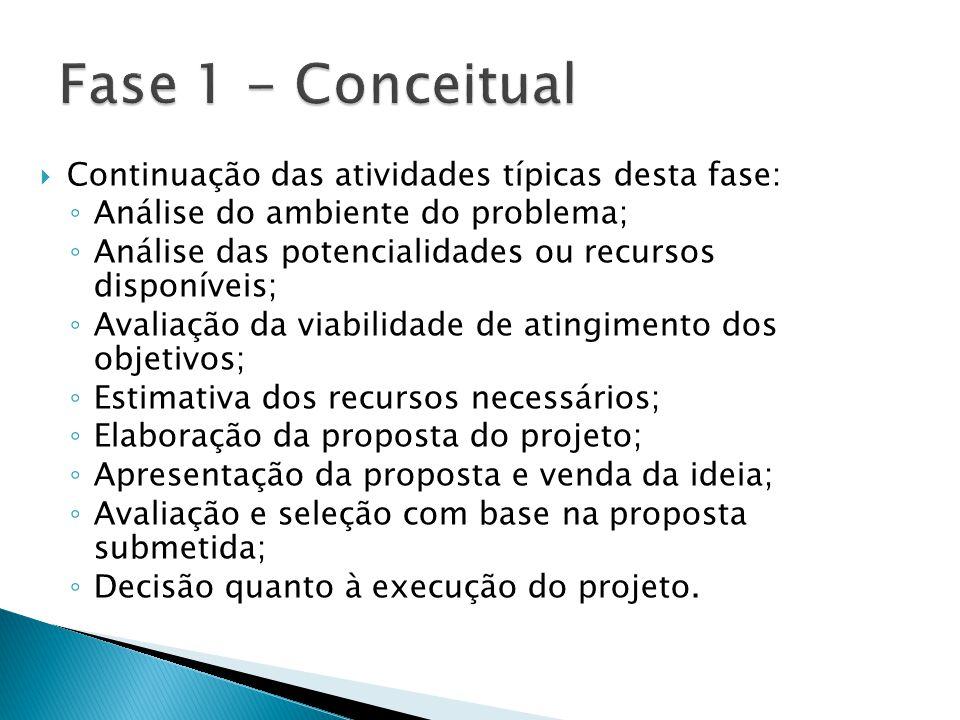 Fase 1 - Conceitual Continuação das atividades típicas desta fase: