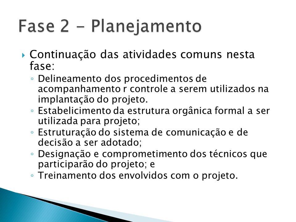 Fase 2 - Planejamento Continuação das atividades comuns nesta fase: