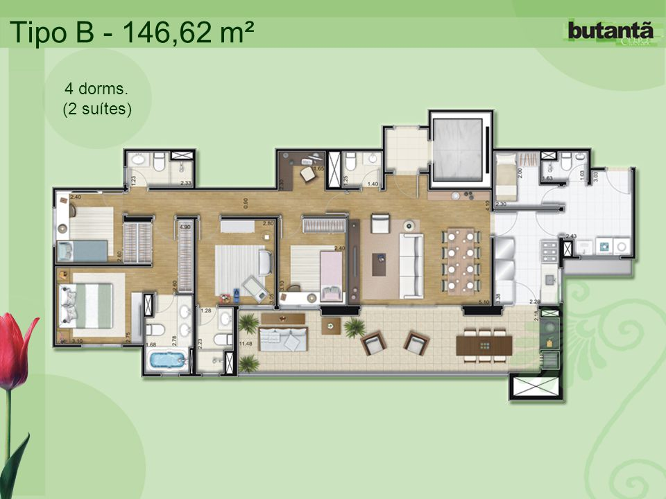 Tipo B - 146,62 m² 4 dorms. (2 suítes)