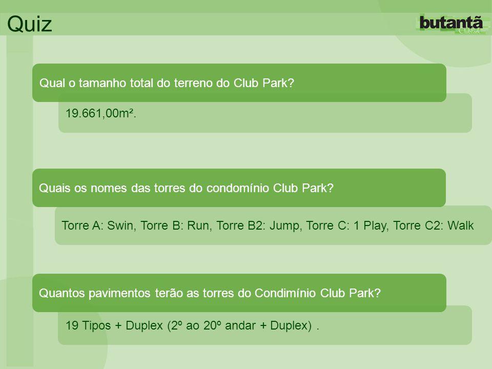 Quiz Qual o tamanho total do terreno do Club Park 19.661,00m².