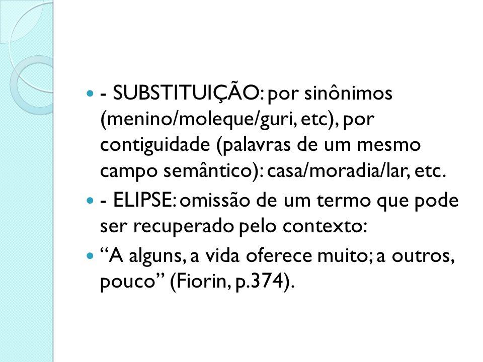 - SUBSTITUIÇÃO: por sinônimos (menino/moleque/guri, etc), por contiguidade (palavras de um mesmo campo semântico): casa/moradia/lar, etc.