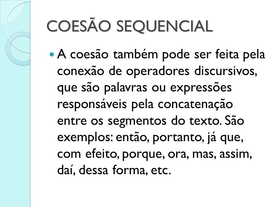 COESÃO SEQUENCIAL