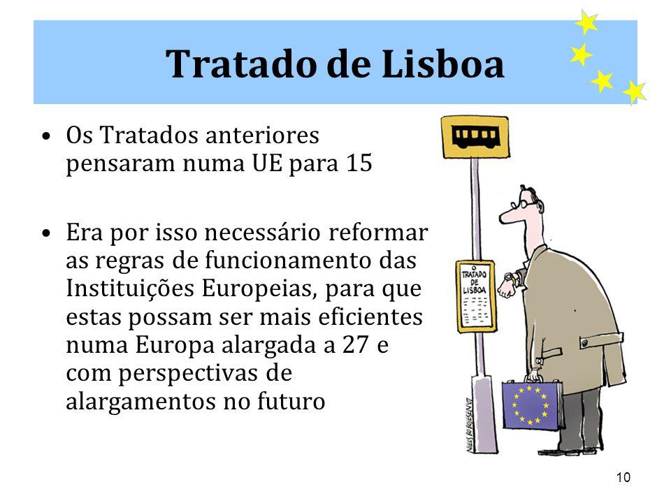 Tratado de Lisboa Os Tratados anteriores pensaram numa UE para 15