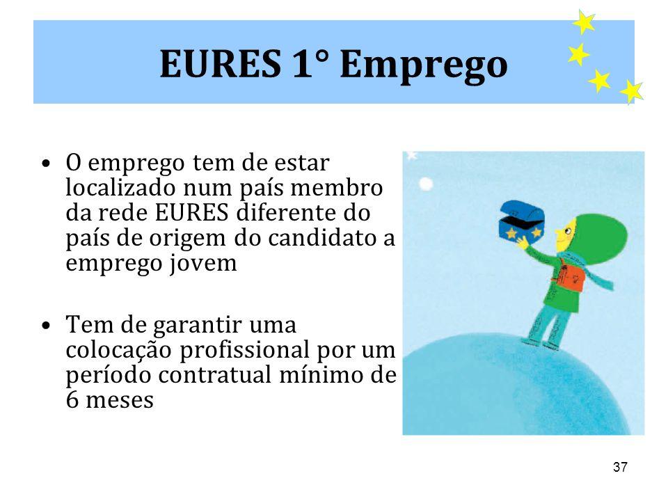 EURES 1° Emprego O emprego tem de estar localizado num país membro da rede EURES diferente do país de origem do candidato a emprego jovem.