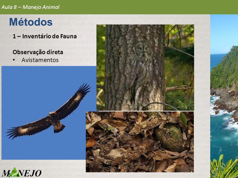 Métodos 1 – Inventário de Fauna Observação direta Avistamentos